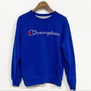 Champion | Blue Spellout Embroidered Sweatshirt M